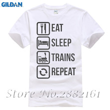 Eat Sleep Trains Repeat Funny Train Carriage Locomotive T-shirt Fashion Short Sleeve Sale 100 % Cotton(China)