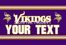 Minnesota Vikings Custom Your Text Flag 3ft x 5ft Polyester NFL Team Banner Flying Size No.4 144* 96cm QingQing Flag Super Fan