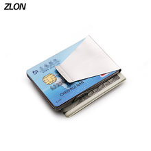 ZLON Free Shipping Trend New Men Metal Wallet Casual Credit Card ID Holder With Strong Magnet Money Clip Silver Bag M167