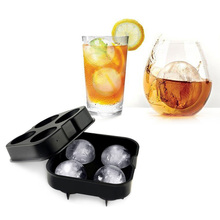 Form for ice  Whiskey Cocktail Ice Cube Ball Maker Mold 4 Large Sphere Ice molds Silicone Ice Cream Tools 12 x 12 x 5cm