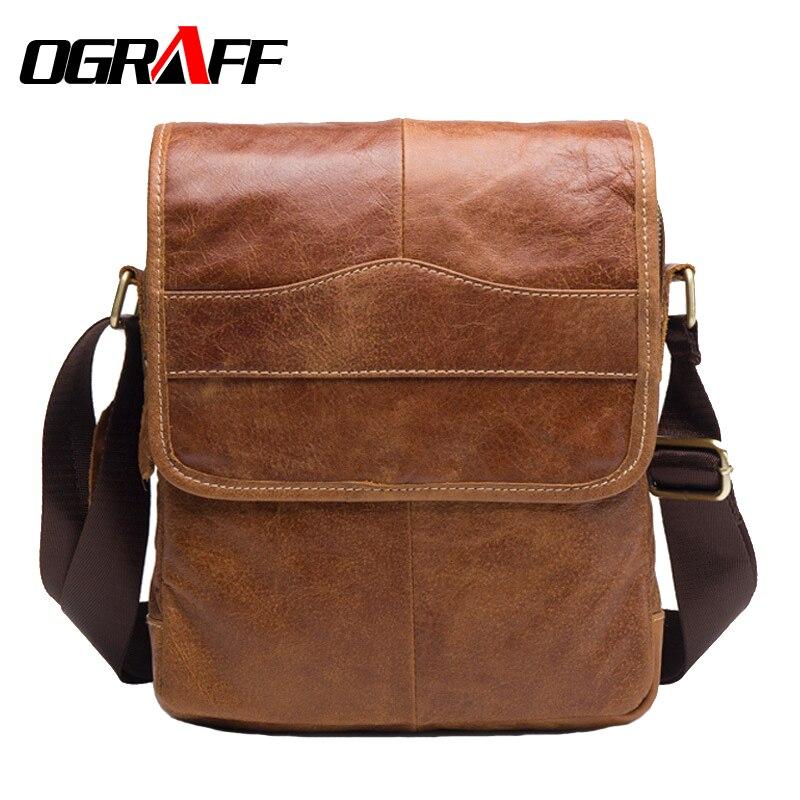 OGRAFF Men Genuine Leather Bag men messenger bags business Natural Cowskin 2017 briefcase Mens Cowhide Shoulder Crossbody Bag<br>