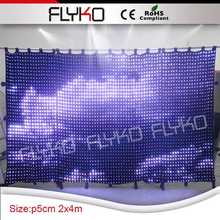 2016 new product Disco Entertainment led mesh rgb display/flexible led curtain(China)