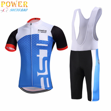 blue and white color fox strips Cycling jersey bib shorts gel Black bicycle clothing MTB Ropa Ciclismo pro team Bicycling wea(China)