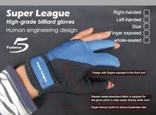 Free shipping Super League High-grade billiard gloves billiard pool Finger exposed/whole-sealed for Right-handed and Left-handed(China)