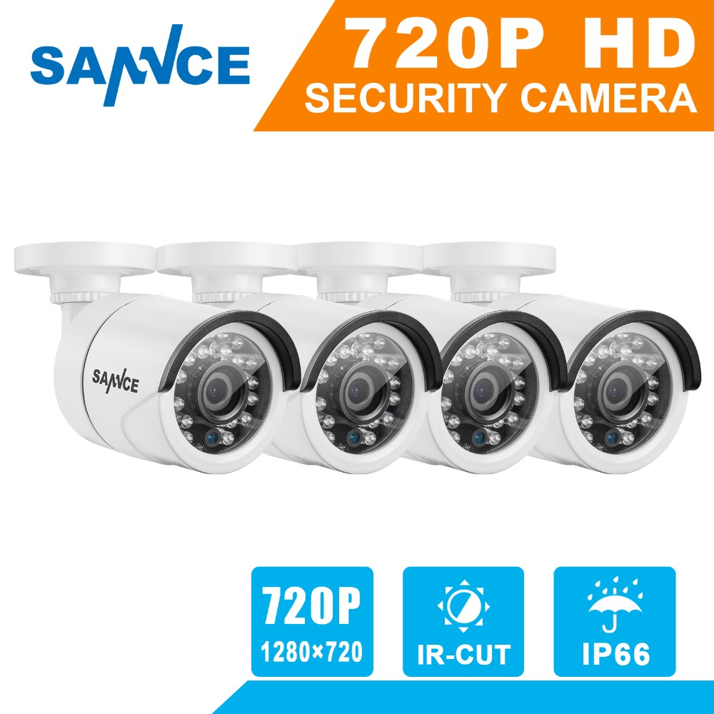SANNCE 4* 720P 1200TVL CCTV Security Camera Systems IR Outdoor Night Vision 1MP Home CCTV Surveillance kits 4* BNC Cables