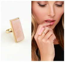 fashion jewelry accessories natural Quartz Aventurine pink rectangle bar crystal stone finger rings for women