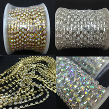Crystal AB/Clear Color 10yards SS6/SS8/SS10/SS12/SS14/SS16/SS18/SS20/SS38 Crystal Rhinestone Chain Silver/gold base(China)
