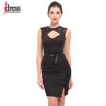 IDress Green Blue Black Color Fashion Runway Cut Out Sexy Party Dresses Women Embroidery Lace Pencil Bandage Dress With Belt(China)