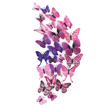 12 pcs/set 3D Butterfly Wall Stickers Decoration For Home Decor Festival Party Wedding DIY Vinyl Ornaments(China)