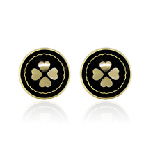Elegant New Four-leaf Clover Big Black Earrings for Women 1.5cm  12 Pairs/lot Stud Earrings Exclusive Design  Jewelry