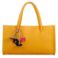 Fashion girls Travel handbags leather shoulder bag candy color flowers tote Yellow