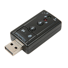 Black 7.1 Channel 3D External USB Sound Card Adapter 3.5mm Jack Stereo Mic Headset For Win XP 7 8 Android Linux for Mac OS