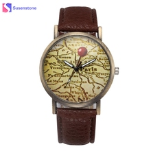 Buy Women Retro Paris Map Pattern Leather Band Quartz Analog Wrist Watch Ladies Casual Sport Watches relogio feminino montre femme for $1.83 in AliExpress store