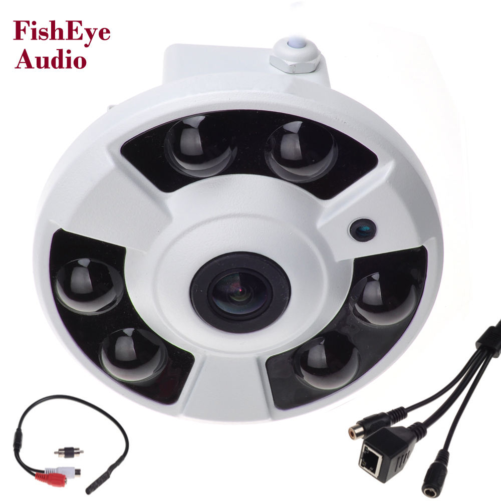 Panoramic IP Camera Audio 720P 960P 1080P Optional Wide Angle FishEye 5MP 1.7MM Lens Camera CCTV ONVIF 6 ARRAY IR LED microphone<br>