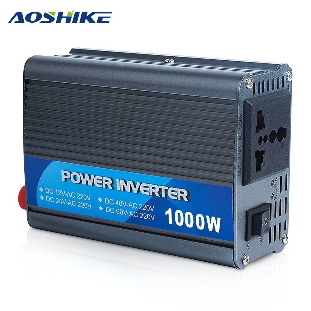 Aoshike 1000W Car Inverter DC 12V 24V To AC 220V inversor Auto Power Converter voltage transformer Car Charger<br>