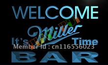 LA672- BAR Welcome Miller Time Beer LED Neon Light Sign