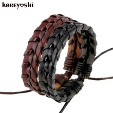 Buy 2018 new Leather Mens Bracelets homme Multilayer Rope Hand Woven Bracelet Men Rope Braided Bracelet Male Female Jewelry for $1.24 in AliExpress store