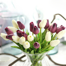 1pc Artificial Tulips fake Flowers PU flores artificiales para decora o mini Tulip for Home Wedding decoration cheap Flower(China)