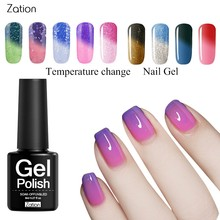 Zation Chameleon Temperature Changing Nail Art Gel Nail Polish UV Top Base Coat Lacquer UV LED Soak-Off Thermo 8ML(China)
