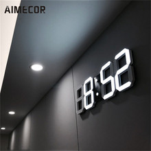 Modern Digital LED Table Desk Night Wall Clock Alarm clocks 24 or 12 Hour Display u70815(China)