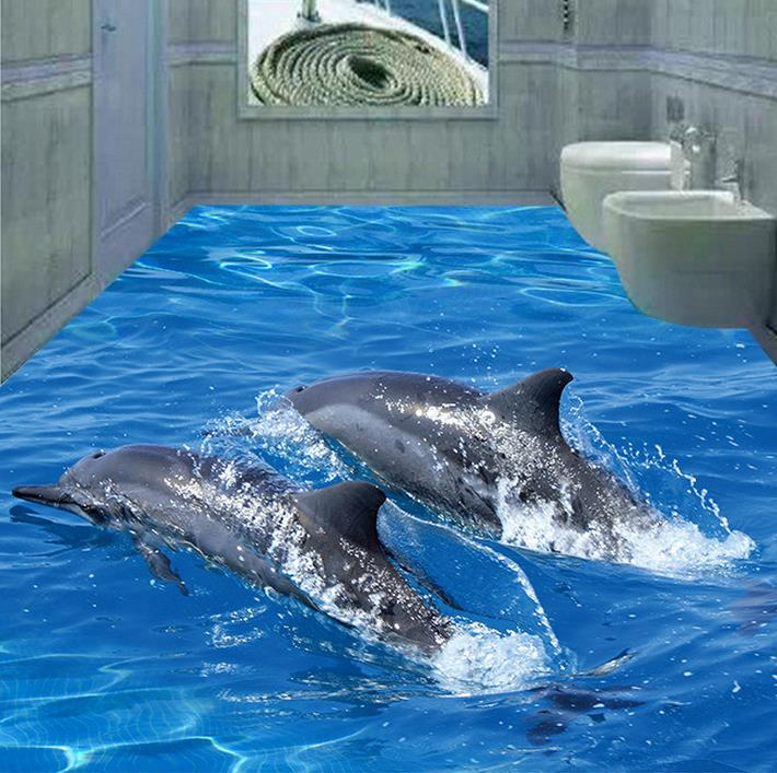 Custom PVC wallpaper photo wallpaper Two dolphins pictures the bathroom floor wallpaper<br><br>Aliexpress
