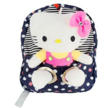 New Nylon Cute Dot Hello Kitty Backpacks Gift for Children Plush Cartoon School Bag for Kid with Detachable Doll 3 Colors