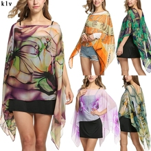 Women Shawl Sunscreen Soft Chiffon Scarf Scarves Long Neck Wraps Beach Shawl Summer