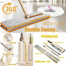 Multifunction Double Sided Non Hand Washing Flat Mop Wooden Floor Mop Dust Push Mop Home Cleaning Tools  9 12