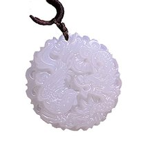 Natural White Afghanistan Stone Pendant Carved Chinese Dragon Phoenix Pendant Necklace Fashion Stone Jewelry