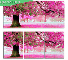 QIANZEHUI,Needlework,DIY Place of first love cross stitch, Pink Cherry tree For Embroidery kits Cross-Stitch