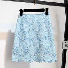 Lace Skirt 2016 Summer Fashion Elegant Hollow Out Slim Package Hip High Waist Pencil Skirt Black White Blue Saias Longas LQ26(China)