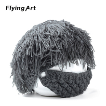 Wig Beard Hats Hobo Mad Scientist Rasta Caveman Handmade Knit Warm Winter Caps Men Women Halloween Gift Funny Party Mask Beanies
