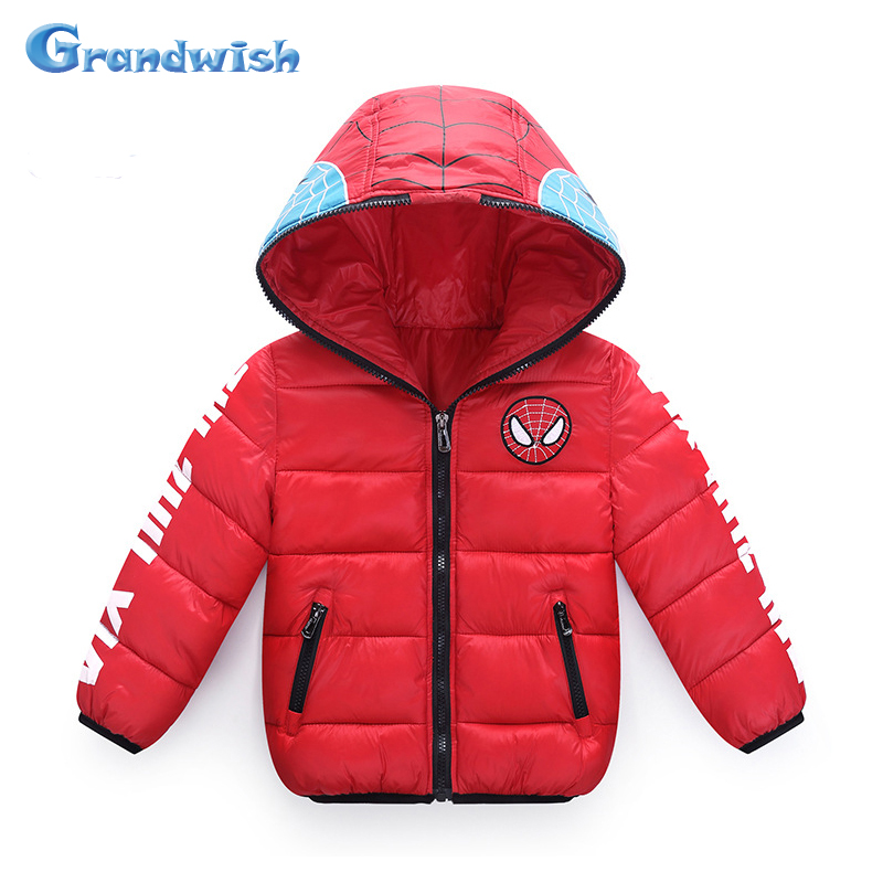Grandwish Boys Spiderman Jackets Girls Winter Hooded Outwear Kids Cartoon Printed Thick  Jackets Children Coats 4T-12T, SC370Одежда и ак�е��уары<br><br><br>Aliexpress