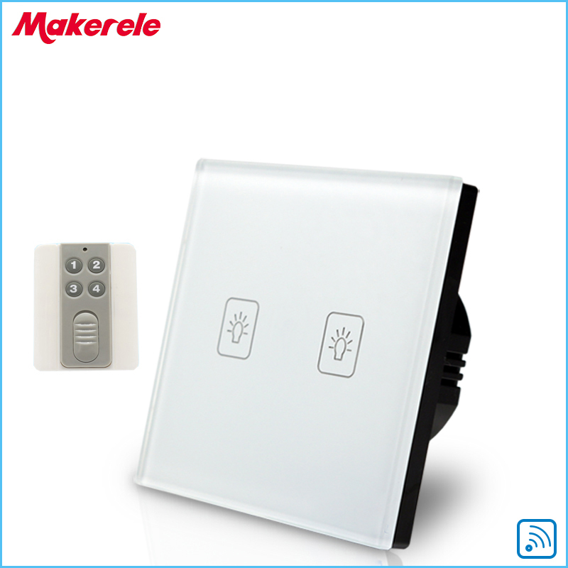 Remote Touch Switch EU Standard 2 Gang 1 way RF Remote Control Light Switch White Crystal Glass Panel with Remote control<br>