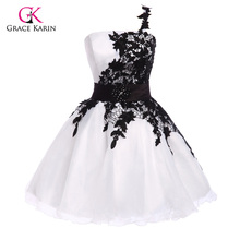 Grace Karin One shoulder puffy Lace Short Prom Dresses 2017 White Black Blue Yellow Organza sexy Evening prom Gowns 4288
