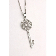 Full Crystal Silver Key Pendant Long Chain Girls Women Fashion Necklace (around 73cm)