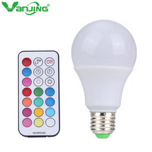 10W E27 RGBW LED Bulb Color Light RGB White Timing Function Dimmable LED Lamp with Remote Controller Dimmer