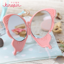 KINEPIN Cute Butterfly Handy Folding Mirror Exquisite Pocket Hand Makeup Mirror Compact Foldable Double-sided Mirrors(China)