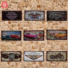 plaque metal vintage home decor indian motorcycle license plate route 66 metal sign motorcycle 15*30cm