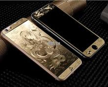 3D Luxury Full Cover Color Tempered Glass case Gold Painting Front+Back For iphone 5 5S SE 6 6S Screen Protector Film