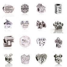 New European Silver Color Delicate Angel Wings Heart Charm Beads Fit Pandora Bracelets For Women DIY Jewerly Making Christmas