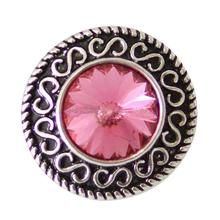 Vintage Hollow Carved Snap Button Pink Crystal 20mm Multicolor CZ Women Bracelet Bangle Classic Hot Jewelry KB5002(China)