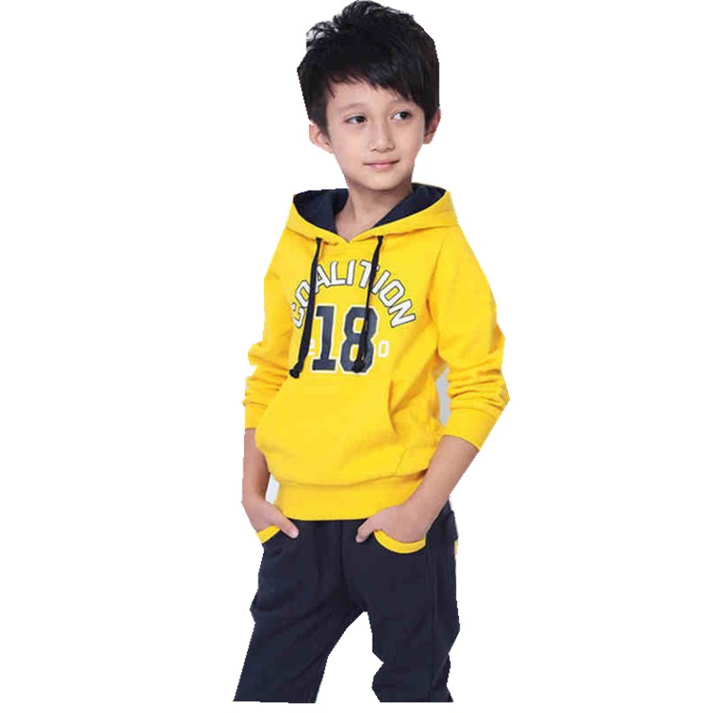Boys Sports for Children Winter Two Trouser Suit Yellow Red Pure Cotton<br>