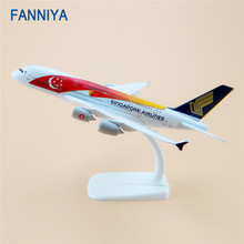 20cm Air Singapore Airlines Airbus 380 A380 Airplane Model Star Moon Flag Airways w Stand Metal Plane Model Aircraft(China)