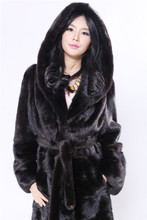 genuine mink fur coat with big hood,length 115cm with large size xl-6xl,dark mahogony natural real mink fur coat