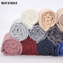 Scarf For Women Simple Solid Cotton Blends Rayon Scarves Spanish Stole Soft Gray Shawls Spring Photo Accessories 16 Color(China)