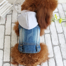 Knitting factory outlets hooded denim fabric dog vests for spring and summer style blue color 5 sizes pet clothes dog supplies