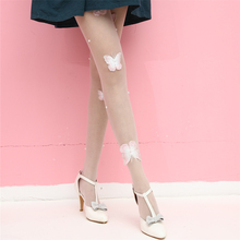 Buy Girls Women Sexy Pantyhose Butterfly Embroidery Silk Stockings Ultra Thin Slim Tights Lady Elastic Stockings Collant Summer 2018
