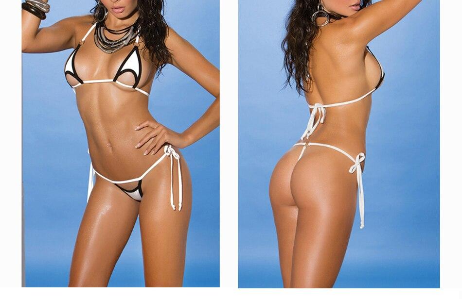 Solid Exotic Sunbath Mini Bikini Teardrop G-String Micro Bikinis Set 2Pcs Thong & Top Beach Swimwear Female Sex String Swimsuit 4
