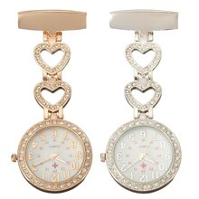 Clip-on Fob Quartz Brooch Heart Shaped Hanging Nurse Pin Watch Crystal Men Women Steel Fashion Vest-Pocket Nurse Watches Clock(China)